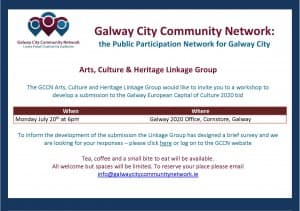 GCCN Arts Culture  Heritage Linkage Group Date for your Diary Galway 2020